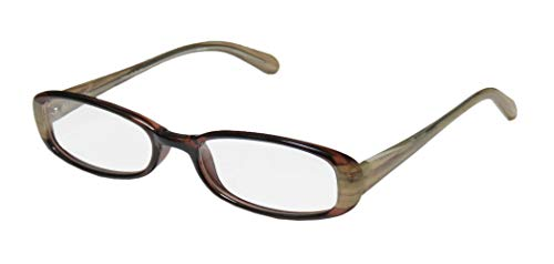 D&A Weave For Ladies/Women Oval Full-Rim Shape Light Style Plastic Temples Stylish Eyeglasses/Eyeglass Frame (48-17-130, Brown/Striped Beige) (D-frame Brille)