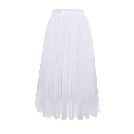 DQHXGSKS Verano Elegante Falda de Las Mujeres de Dos Capas de Tul ...
