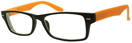 Classic Rectangular Negative Strength Prescription Eyewear Glasses Power -1.00 thru -2.25 (Black | Orange, - Prescription Glasses Orange