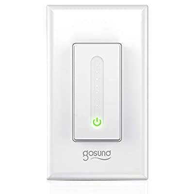 Smart Dimmer Switch, Gosund Smart Light Switch Dimmer Works with Alexa & Google Assistant, with Remote Control & Timer, Single-Pole, Neutral Wire Required, Easy Installation, No Hub Required (1 Pack)