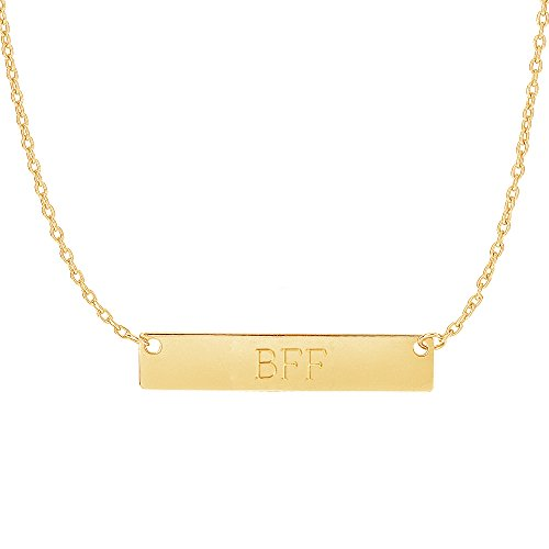 Ritastephens 14k Yellow Gold Bar Pendant Name Plate with Front Engraving Adjustable Necklace 16 to 18 Inches 14k Yellow Gold Nameplate