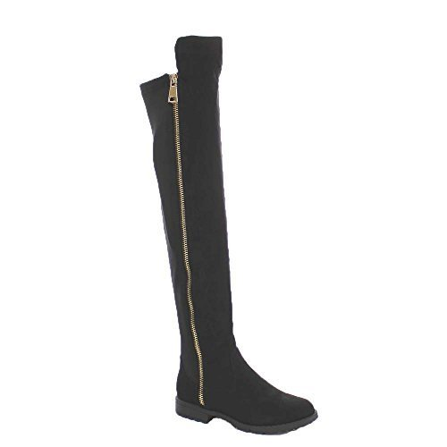 Bamboo Monterey-05 Women's Stretch Back Side Zipper Low Heel Over The Knee Boots,Black - Womens Boots Bamboo