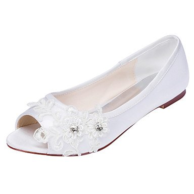Others Crystal Evening White Satin Others 5 Spring Wedding Flats US5 5 Dress UK3 EU36 Women'S Heel Flat amp;Amp; Summer Ivory CN35 Party Stretch ZwOxaSzq