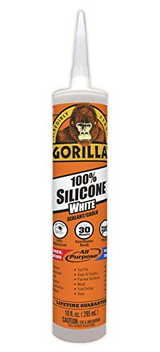 Gorilla White 100 Percent Silicone Sealant Caulk, Waterproof and Mold & Mildew Resistant, 10 ounce Cartridge, White, (Pack of 1) (Best Caulk Gun For Silicone)