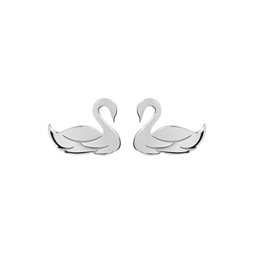 Gold Swan Studs, 14K Gold Earrings, White Gold, Small Bird Earrings, Tiny Swan Earrings, Solid Gold Swans, Bird Jewelry, Love Gift For Women, Gift For Daughter/code: 0.001