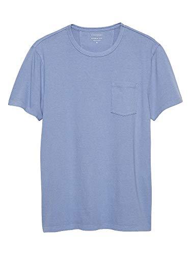 Banana Republic Mens Garment Dye T Shirt, Periwinkle (XL) (Tshirt Banana Republic Men)