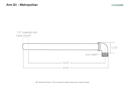 Cocoweb BCAW12BK-1B Calla Indoor/Outdoor LED Barn Light With Metropolitan Stem, 12'', Black by Cocoweb (Image #2)