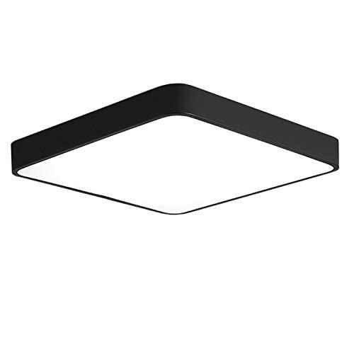 Ganeed LED Ceiling Light Flush Mount,24W 12-Inch Modern Ceiling Lamp Fixture Square,6500K Cool White Energy Saving Lighting Fixture for Living Bathroom Dining Room,Black