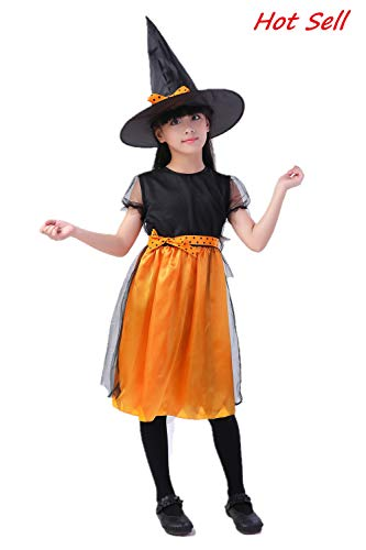 High End Halloween Costumes Toddler (Girls Pumpkin Dress & Halloween Hocus Pocus Witch Costume for 4-13 Years Kids - Emulation)