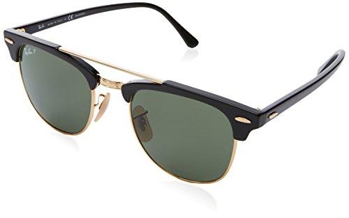 Ray-Ban 0rb3816901/5851clubmaster Doublebridge Polarized Square Sunglasses, Black, 51 mm
