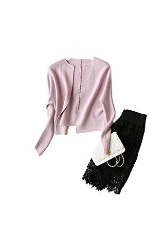 corto corto Pink aperto anteriore femminile manica Sciolto Yacun lunga Cardigan Cardigan Cardigan ZHPgvqxaTW