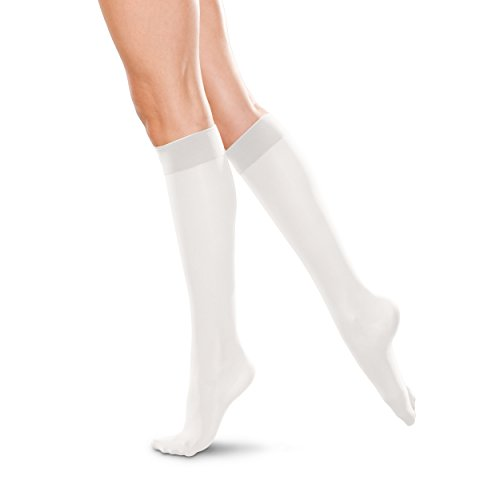 Therafirm LIGHT Women's Knee High Support Stockings – 10-15mmHg Compression Nylons (White, XL)