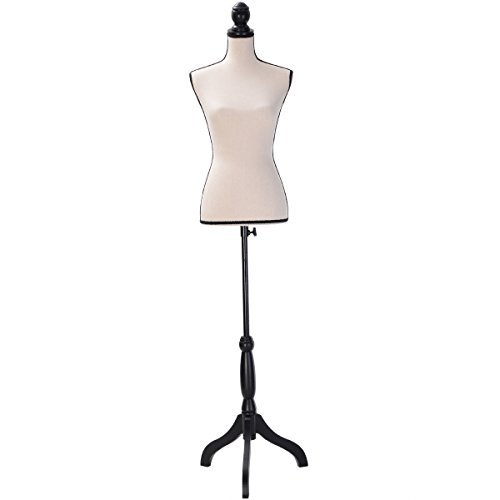 Eight24hours Beige Female Mannequin Torso Clothing Dress Display W/ Black Tripod Stand New + FREE E-Book