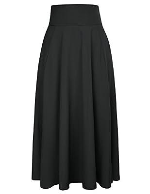 Belle Poque Women's A Line Flared Skirt High Waist Front Split Maxi Skirt With Pockets