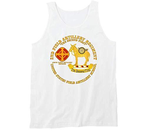 2XLARGE - Army - 2nd Field Artillery Regiment - US FA School - Tanktop - White ()
