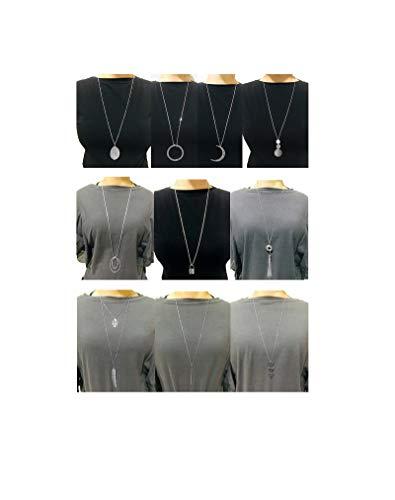 Ofeiyaa 10Pcs Long Pendant Necklace Simple Moon Bar Three Triangle Tassel Lock Sweater Y Shape Punk Chain Choker Necklace for Women Girls Silver Tone
