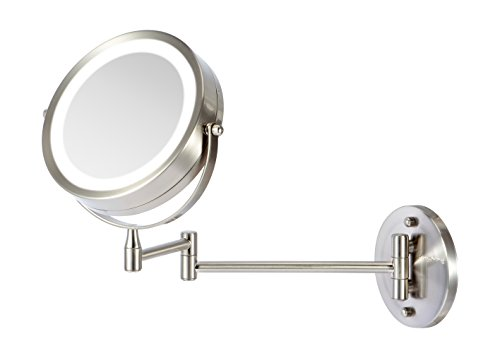 Price comparison product image Ovente Wall Mount LED Lighted Makeup Mirror, Battery Operated, 1x/10x Magnification, 7 Inch, Nickel Brushed (MFW70BR1x10x)