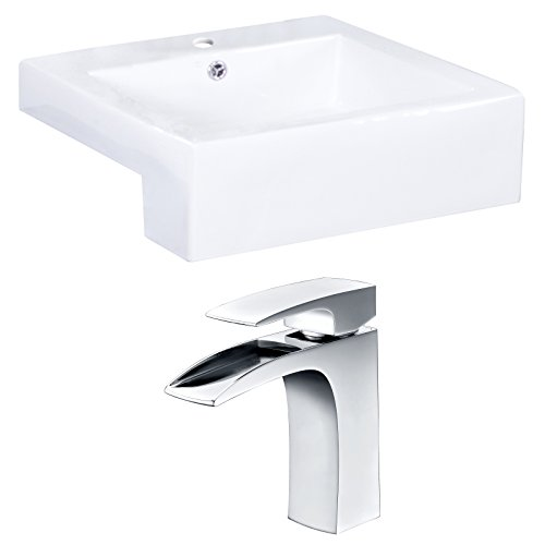 - American Imaginations AI-15254 Rectangle Vessel Set with Single Hole CUPC Faucet, 20