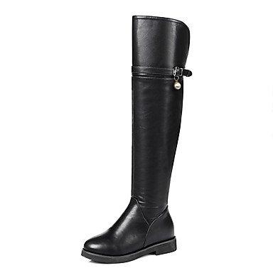 RTRY Zapatos De Mujer Polipiel Otoño Invierno Pelusas Forro Botas Botas De Moda Puntera Redonda Sobre La Rodilla Botas Imitación Perla Hebilla De Zipper Negro Us5.5 / Ue36 / Uk3.5 / Cn35 US6.5-7 / EU37 / UK4.5-5 / CN37