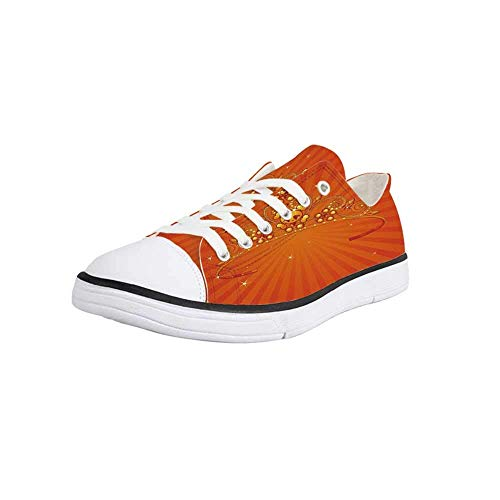 Canvas Sneaker Low Top Shoes,Queen,Fancy Halloween Princess Crown with Little Skull Daisies on Radial Orange Backdrop Stars Decorative Women 9/Man 6.5 -