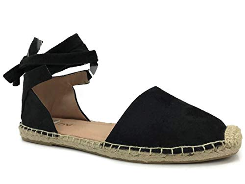 (SODA Womens Layout Ankle Wrap Espadrille Flat D'Orsay Sandal Topic,Black,8.5)