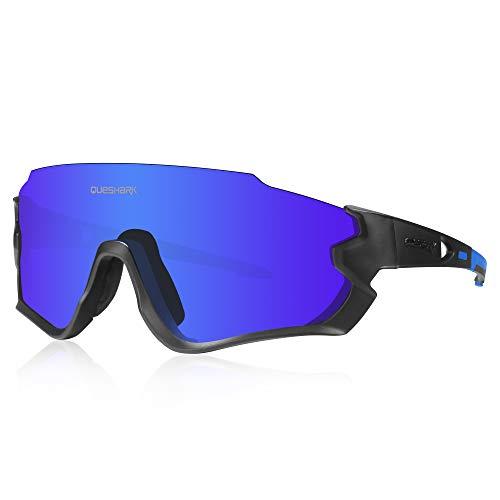 Queshark HD Gepolariseerde UV-bescherming Fietsbril Fietsbrillen Voor Racefiets MTB 3 Lens HD 1 Gepolariseerde QE45