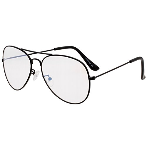 VIVIENFANG Lightweight Black Metal Small Aviator Sunglasses Retro Clear Lens Shades N85832A - Makes Sunglasses Faces Small Who For
