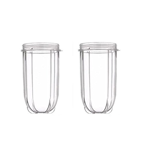 Blendin 2 Pack Replacement 16 Ounce Tall Jar Cups, Fits Original Magic Bullet Blender Juicer 250W MB1001