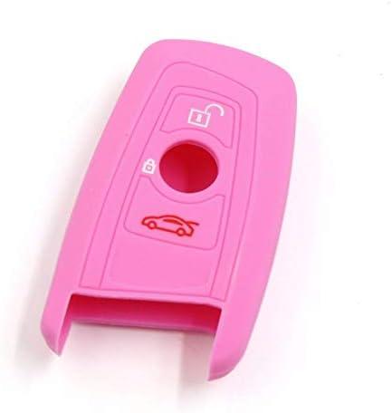 Funda de silicona brillante para llave de coche BMW F30 F10 F20 F30 X1 X3 X4 X6 rosa