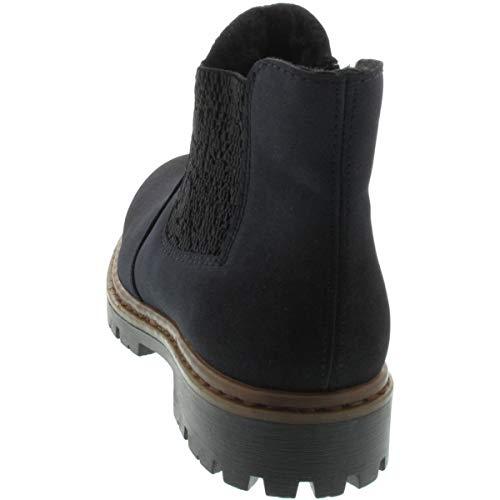 Rieker Women's Schwarz 71364 Boots Chelsea 14 Pazifik Blue H7rHqd