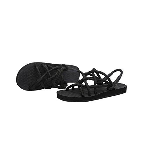 Couple Womens Mens Rope Nets Toe-ring Flat Sandal Lightweight Flip Flops for Beach House Black zeAPS2