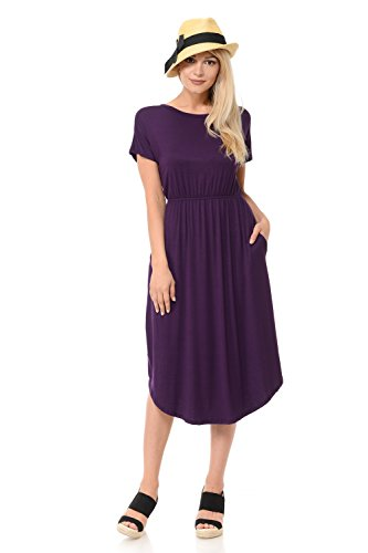 - iconic luxe Women's Solid Short Sleeve Flare Midi Dress with Pockets X-Large Eggplant