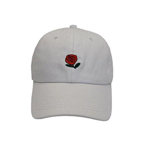 Gorra Rosas Libre Aire Bordadas collectsound blanco diseño de béisbol Rosa con Hombre de al Ywwqda