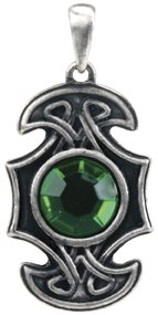 (Design Doranne Celtic Axe Pendant w/Green Gem Lead Free Pewter Jewelry Accessory for Necklace Style Ancient Celtic Design by Ebros)