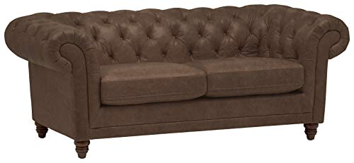 Stone & Beam Bradbury Chesterfield Tufted Leather Loveseat Sofa Couch, 78.7