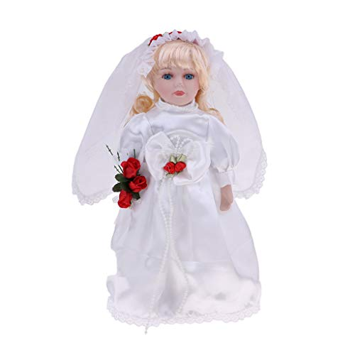 12inch Porcelain Bride Doll with Stand , Girl People Figures in Wedding Dress Outfits, Kids Gift Adult Collections ()