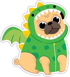 Cute Pug with Dragon Costume (Size W8.2 x H8.9 Centimeter) Car Motorcycle Bicycle Skateboard Laptop Luggage Vinyl Sticker Graffiti Decal Bumper Sticker ()