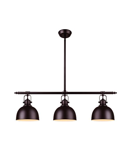 Oslo Modern 3-Light Pendant- Bronze Finish with Painted White Interior