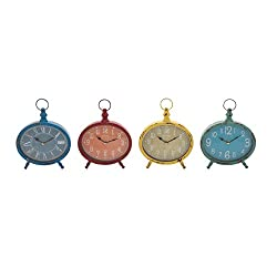 Benzara 92212 The Rustic and Colourful Metal Desk Clock, Assorted