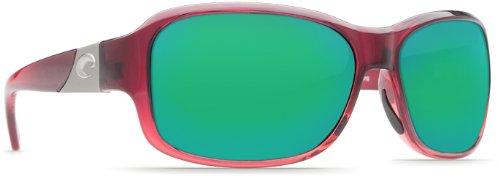 Costa Del Mar Sunglasses - Inlet- Glass / Frame: Pomegranate Fade Lens: Polarized Green Mirror Wave 400 Glass ()