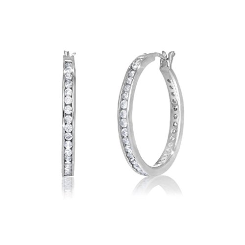 .925 Sterling Silver CZ Hoop Channel Set Earrings 25mmx3mm Hoops
