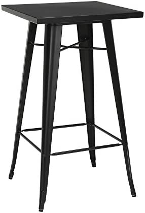 OFM 161 Collection Industrial Modern 24 Square Bar Table with Footring, Galvanized Steel Indoor Outdoor Table, in Black 161-BT24-BLK