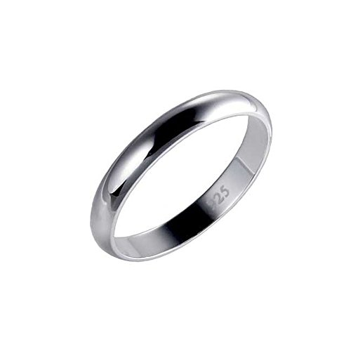 Sterling Silver High Polished Ring (3MM Sterling Silver High Polished Half-Round Light Comfort Fit Classy Dome Wedding Band)