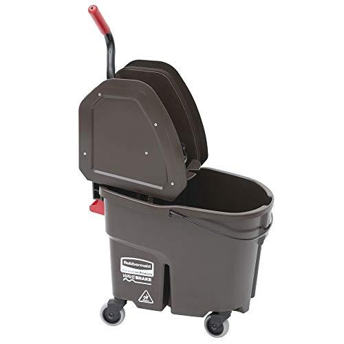 Rubbermaid 35 qt Brown Plastic WaveBrake Mop Bucket with Down Press Wringer