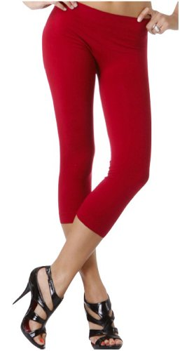 ToBeInStyle Women's Footless Elastic Legging - Capris Length - 27' Inches - Red ()