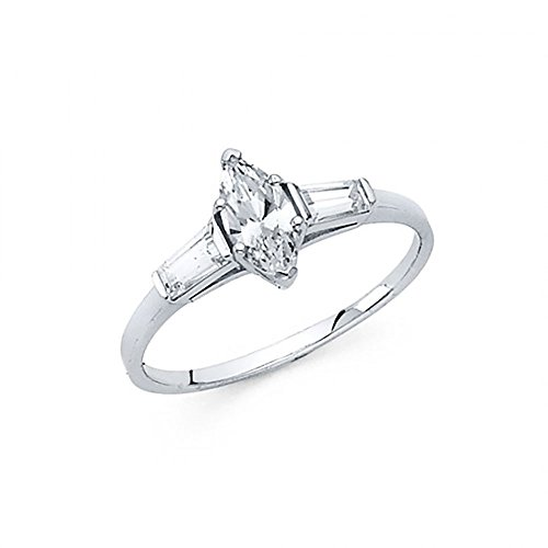 14k White Gold Marquise CZ Channel Set Baguette Solitaire Engagement Ring