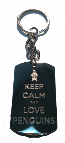 Keep Calm And Love Penguins - Metal Ring Key Chain Keychain]()
