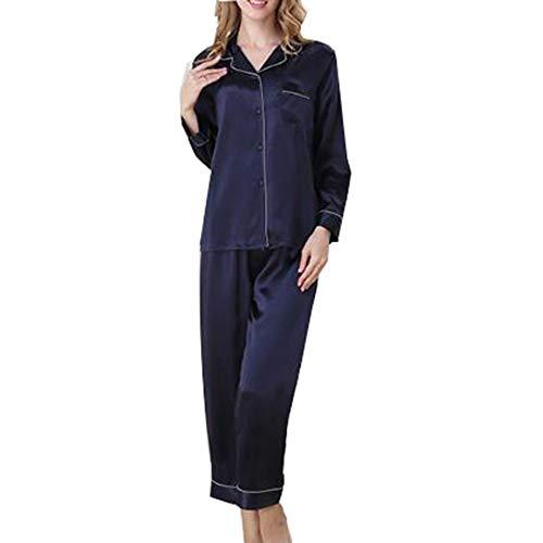 100 Para Darkblue Verano Mujer Y Pijamas Larga Traje Piezas De Dos Seda Manga Hogar Primavera wz6wxO1q