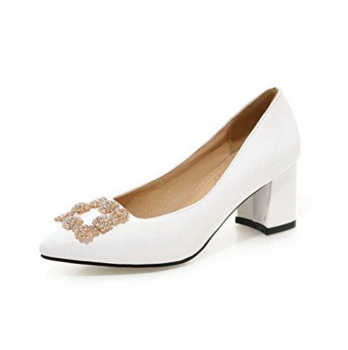 VogueZone009 Damen Spitz Zehe Ziehen auf Nubukleder Eingelegt Mittler Absatz Pumps Schuhe, Blau, 39