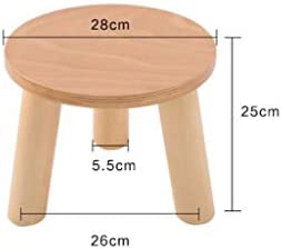 CHHD Chaise de Bureau, Bois Couleur Tabouret à Trois Pattes Rondes Chaussures Chaussures ménage en Bois Massif (28 * 28 * 25 cm)